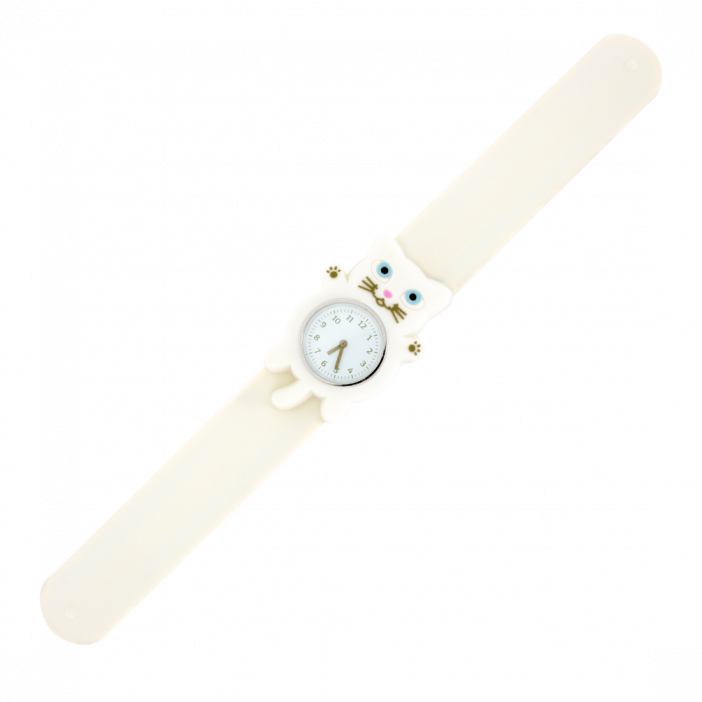 Funny Time Animal - Montre slap Chat blanc