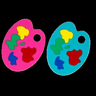 Set of 2 coasters - Apéro Palette - Pink / Blue