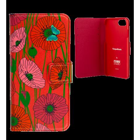 Klappdeckel für iPhone 6, 6S, 7 - Iwallet2 Dahlia