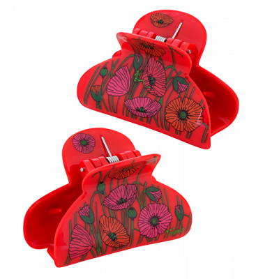 Pince à cheveux crabe - Ladyclip Small - Coquelicots