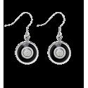 Boucles d'oreilles crochet - Duo Milk Noir / Blanc