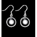 Boucles d'oreilles crochet - Duo Milk Noir / Or