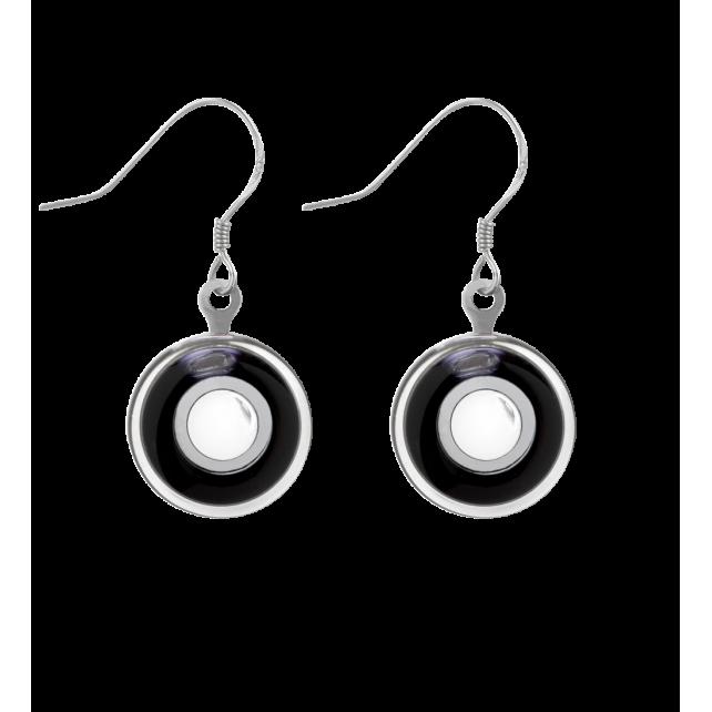 Hook earrings - Duo Milk Black / White