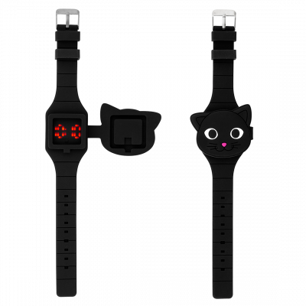 Uhr LED - Aniwatch - Schwarze Katze