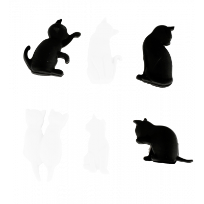 6er-Set Glasmarkierer - Happy Markers - Chat noir et blanc