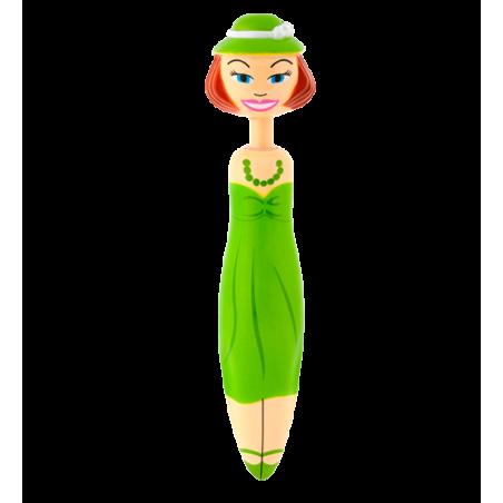 Retractable ballpoint pen - Fashion Girl Pen Green / Pink