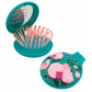 2 in 1 hairbrush and mirror - Lady Retro Pear Flower