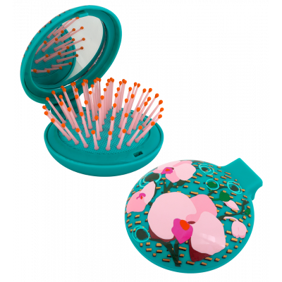 2 in 1 hairbrush and mirror - Lady Retro - Orchid Blue