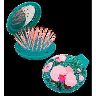 Haarbürste mit Spiegel 2 in 1 - Lady Retro - Orchid Blue