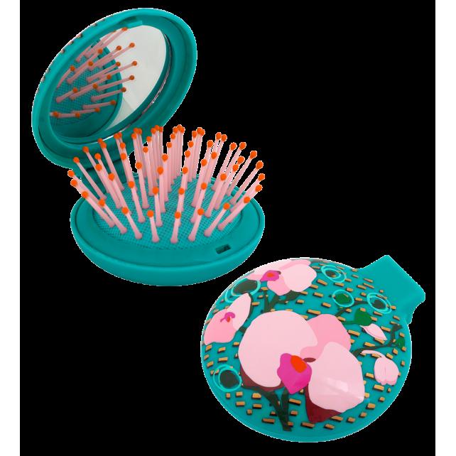 Haarbürste mit Spiegel 2 in 1 - Lady Retro Orchid Blue