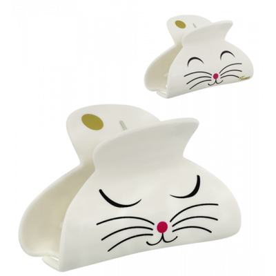 Crab hair clips - Ladyclip Large - White Cat