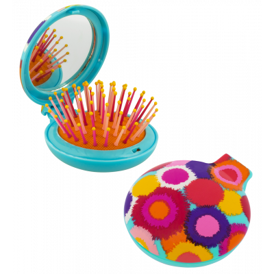 2 in 1 hairbrush and mirror - Lady Retro - Pompon