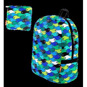 Foldable backpack - Pocket Bag - Blue fish