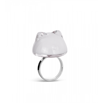 Glass ring - Cat Bulle Medium Milk - White