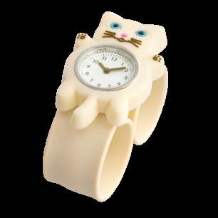 Slap-Uhr - Funny Time - Weiße Katze