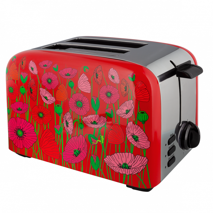 Toaster with European plug - Toast'in 2 Coquelicots
