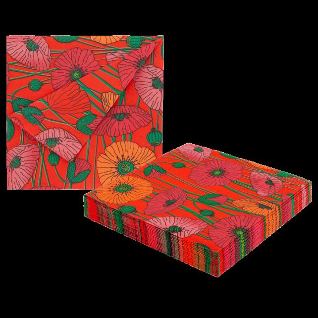 Paper Party - Pack de 20 serviettes en papier Coquelicots