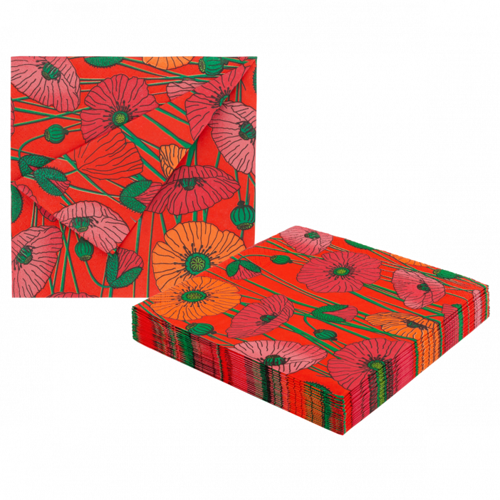 Paper Party - Pack of 20 paper napkins Coquelicots
