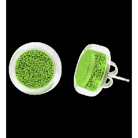 Boucles d'oreilles clou en verre soufflées - Cachou Billes