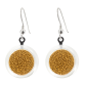 Boucles d'oreilles crochet en verre soufflées - Cachou Billes