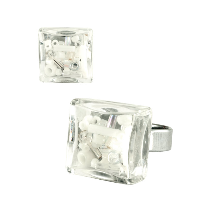 Carre Mini Mix Perles - Bague en verre Weiss