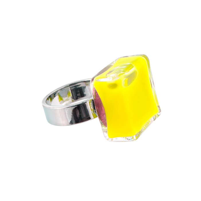 Carre Mini Milk - Bague en verre Yellow