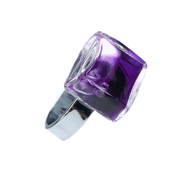 Glasring - Carré Mini Transparent Violett