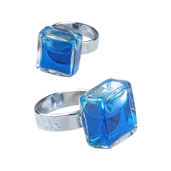 Glass ring - Carré Mini Transparent Dark Blue