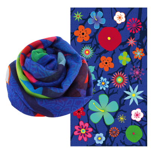 Foulard - Balade - Blue Flower