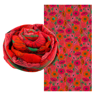 Foulard - Balade - Coquelicots