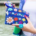 3 zip pouch - Zip It Blue Flower
