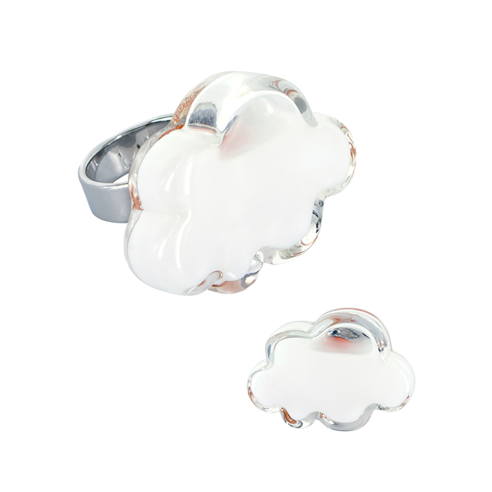 Anello in vetro - Nuage Medium Milk