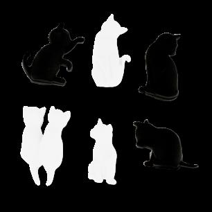 6er-Set Glasmarkierer - Happy Markers - Chat noir et blanc