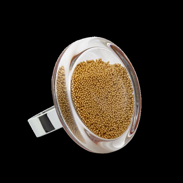 Bague en verre soufflée - Cachou Medium Billes
