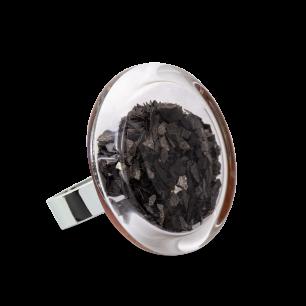 Bague en verre soufflée - Cachou Medium Paillettes