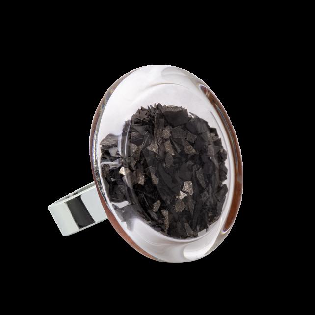 Bague en verre soufflée - Cachou Medium Paillettes Noir