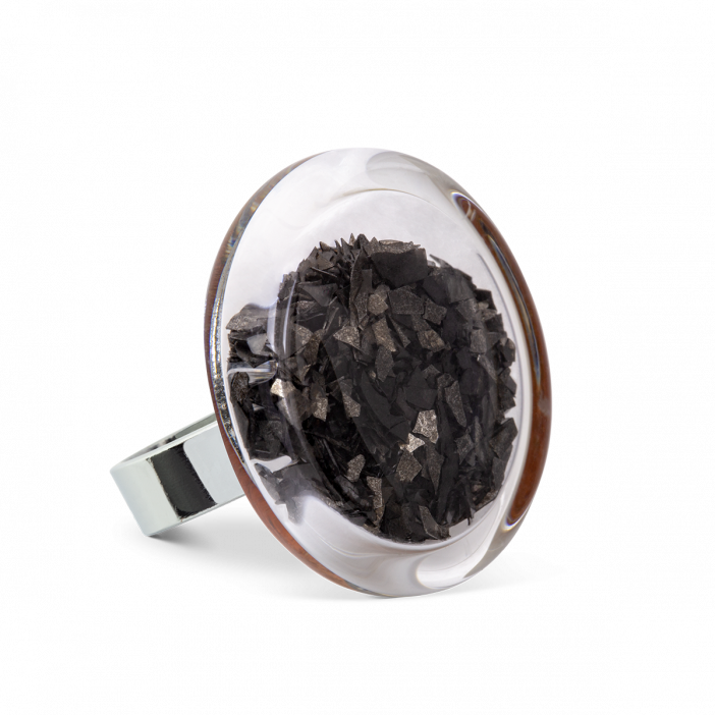Glass ring - Cachou Medium Paillettes