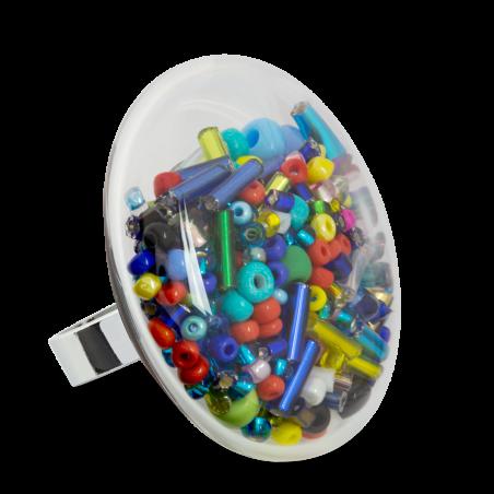 Anello in vetro - Galet Giga Mix Perles