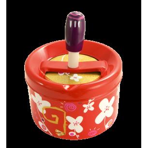 Push-button ashtray - Pousse Pousse - White Flower