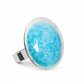 Glass ring - Galet Medium Paillettes Colors