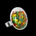 Glass ring - Galet Medium Mix Perles