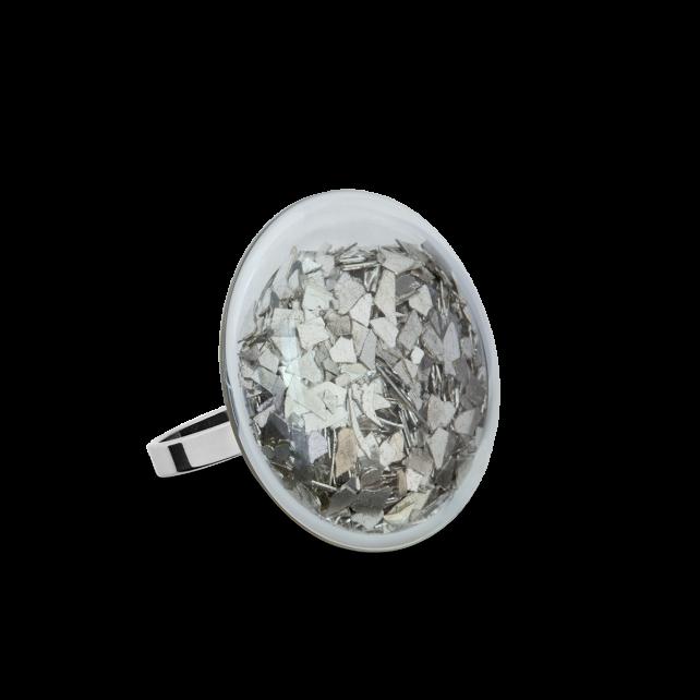 Bague en verre soufflée - Galet Mini Paillettes