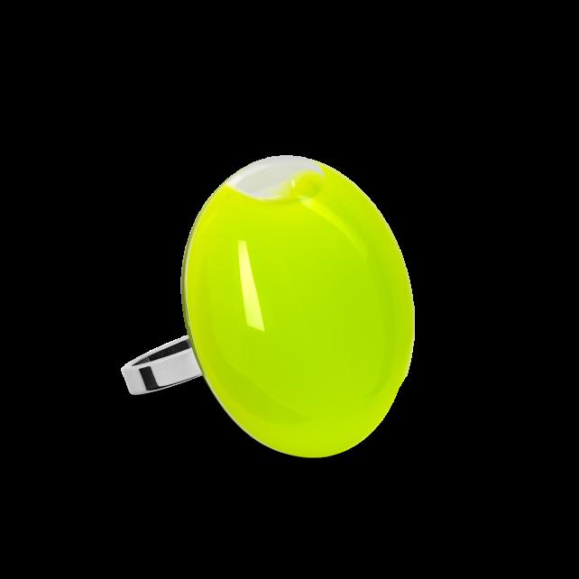 Bague en verre soufflée - Galet Mini Milk Vert Clair