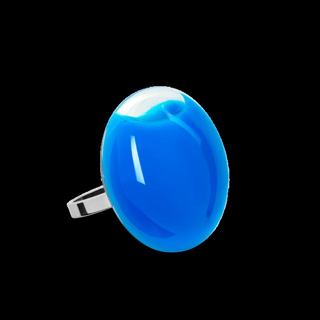 Bague en verre soufflée - Galet Mini Milk Bleu roi