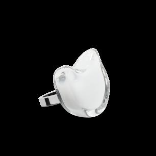 Bague en verre soufflée - Chat Nano Milk