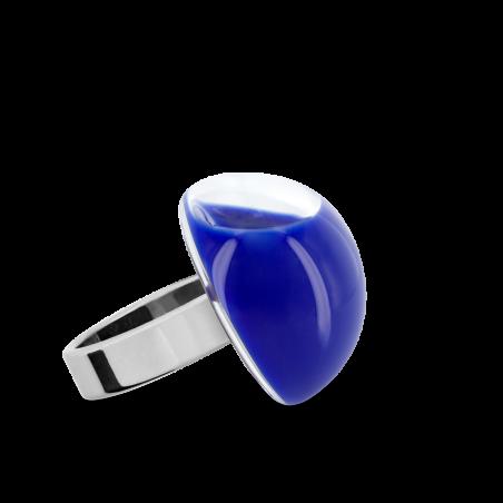 Anello in vetro - Dome Mini Milk Blu reale