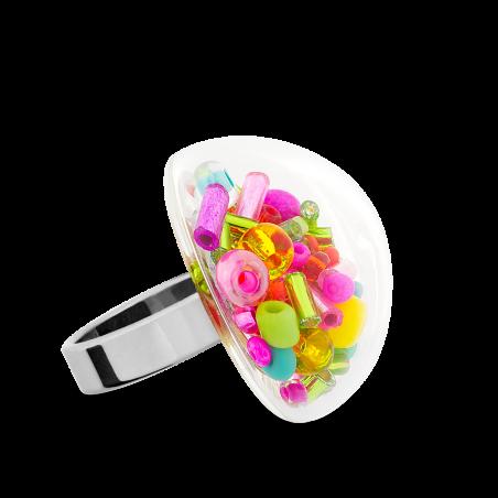 Bague en verre soufflée - Dome Medium Mix Perles