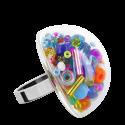 Anello in vetro - Dome Giga Mix Perles