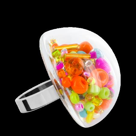 Bague en verre soufflée - Dome Giga Mix Perles