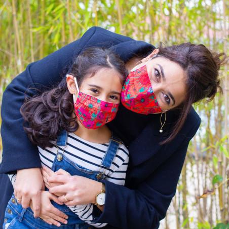 Mask in washable and reusable fabric - Hidden Smile Jardin fleuri